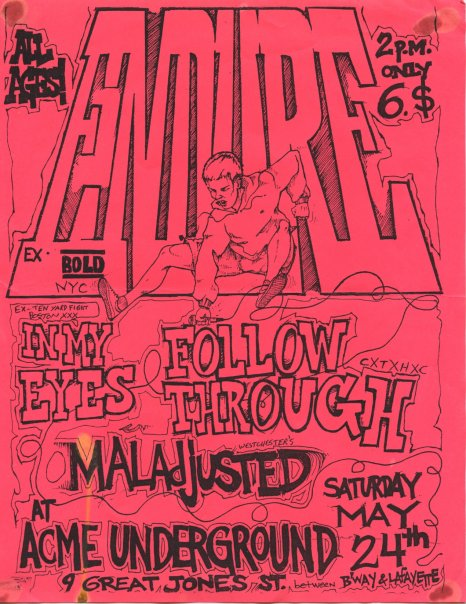 Endure-In My Eyes-Follow Through-Maladjusted @ Acme Underground New York City NY 5-24-97