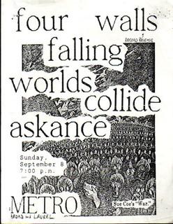 Four Walls Falling-Worlds Collide-Askance @ Metro Richmond VA 9-8-91