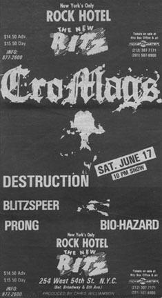 Cro Mags-Destruction-Prong-Biohazard-Blitzspeer @ The Ritz New York City NY 6-17-89