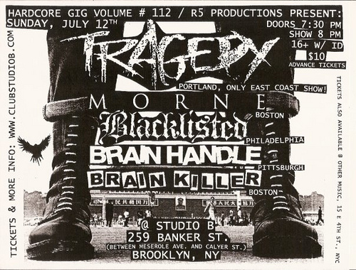 Tragedy-Morne-Blacklisted-Brain Killer-Brain Handle @ Studio B Brooklyn NY 7-12-09