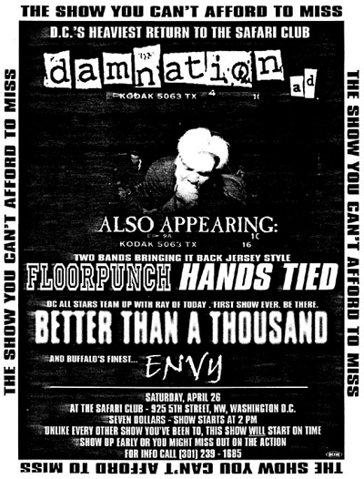 Damnation AD-Better Than A Thousand-Hands Tied-Floorpunch-Envy @ The Safari Club Washington DC 4-26-97