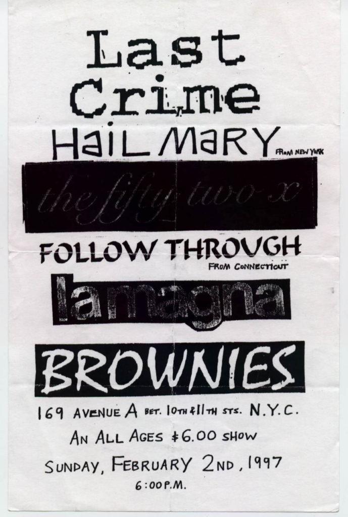 Last Crime-Hail Mary-The Fifty Two X-Follow Through-Lamagna @ Brownies New York City NY 2-2-97
