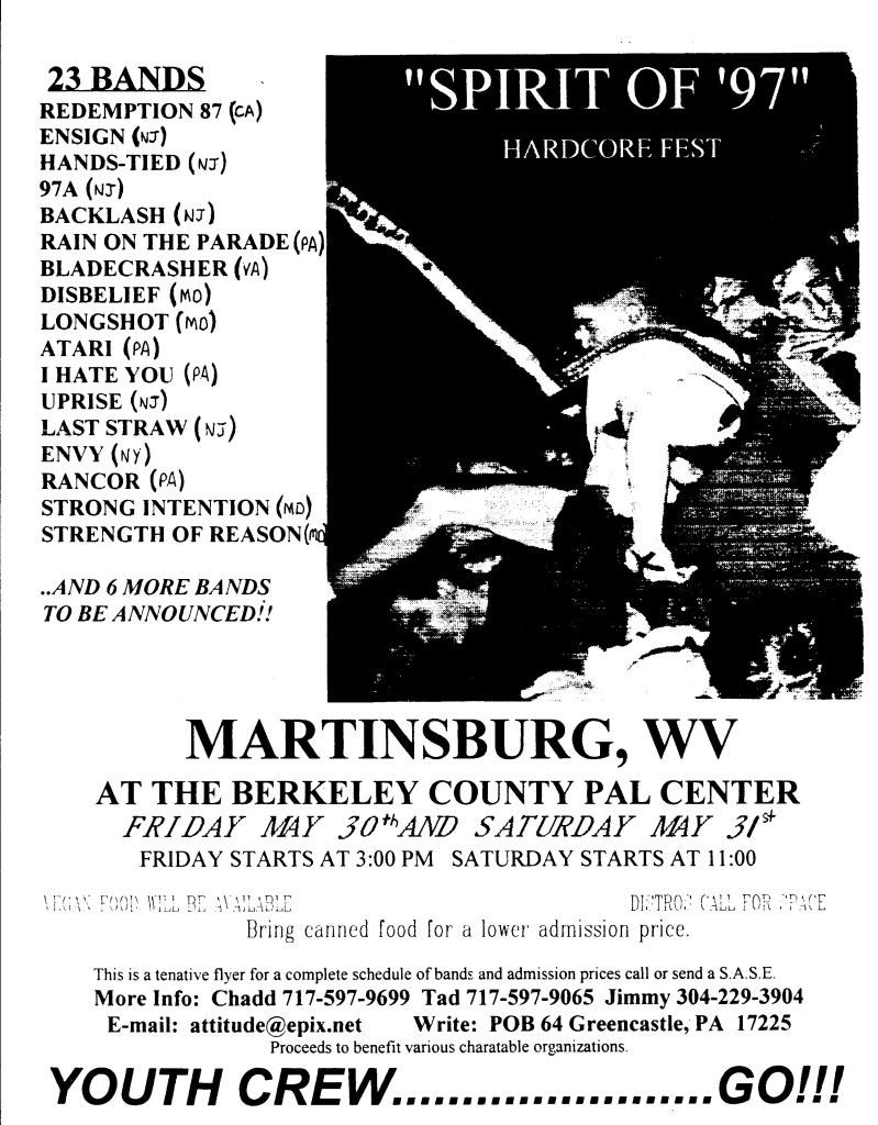 """""""Spirit of 97"""" Hardcore Fest 5-30-97"""