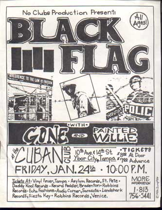 Black Flag-Gone-Painted Willie @ The Cuban Club Tampa FL 1-24-86