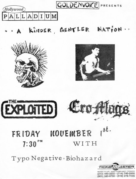 The Exploited-Cro-Mags-Type O Negative-Biohazard @ Hollywood Palladium Hollywood CA 11-1-91