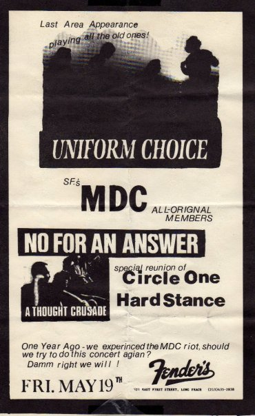 Uniform Choice-Millions of Dead Cops-No For An Answer-Circle One-Hard Stance @ Fenders Long Beach CA 5-19-89