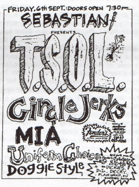 TSOL-Circle Jerks-MIA-Uniform Choice-Doggy Style @ Fenders Long Beach CA 9-6-85