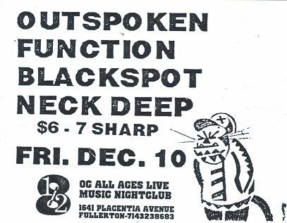 Outspoken-Blackspot-Neck Deep-Function @ OC All Ages Live Music Nightclub Fullerton CA 12-10-93
