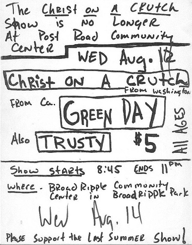 Christ on a Crutch-Green Day-Trusty @ Broad Ripple Community Center Indianapolis IN 8-14-91