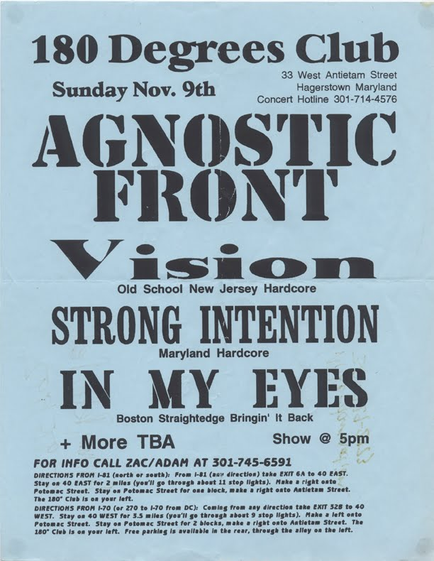 Agnostic Front-Vision-Strong Intention-In My Eyes @ 180 Degree Club Hagerstown MD 11-9-97