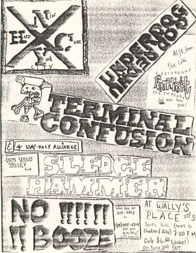 Underdog-Terminal Confusion-Sledgehammer-Forthright @ Wally's Place Bethlehem PA 6-3-89