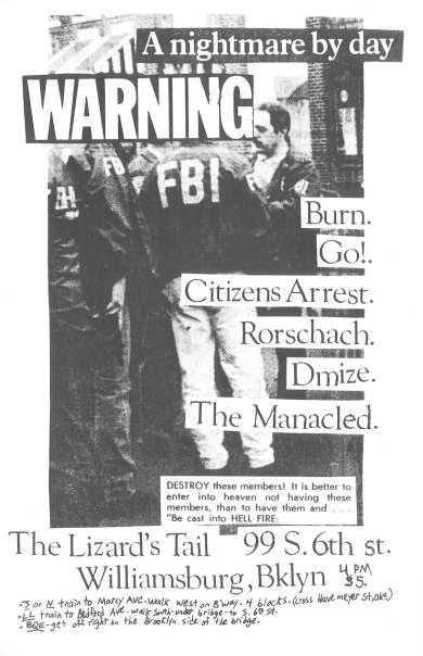 Burn-Go!-Citizens Arrest-Rorschach-Dmize-The Manacled @ The Lizard's Tail Brooklyn NY 1990