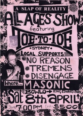 Toe to Toe-No Reason-Tremens-Disengage @ Masonic Bowlo Newcastle Australia 4-8-95