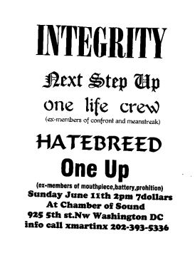 Integrity-Next Step Up-One Life Crew-Hatebreed-One Up @ Chamber of Sound Washington DC 6-11-95