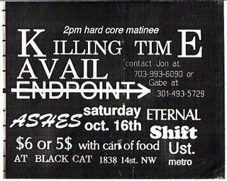 Killing Time-Avail-Endpoint-Ashes-Shift-Eternal @ Black Cat Washington DC 10-16-93