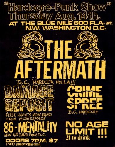 The Aftermath-Crime Spree-Damage Deposit-86 Mentality @ Blue Nile Washington DC 8-14-03
