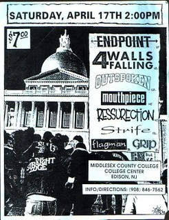 Endpoint-Four Walls Falling-Mouthpiece-Outspoken-Strife-Ressurection-Flagman-Grip @ Middlesex County College Edison NJ 4-17-92
