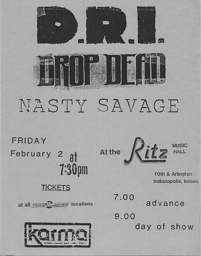 DropDead-DRI-Nasty Savage @ The Ritz Indianapolis IN 2-2-86