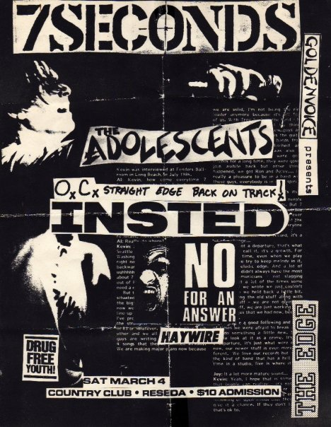 7 Seconds-Adolescents-Insted-No For An Answer-Haywire @ Country Club Reseda CA 3-4-89