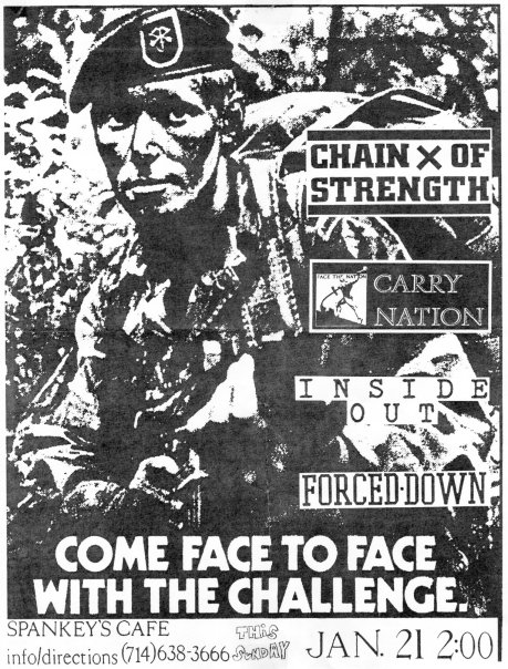 Chain of Strength-Carry Nation-Inside Out-Forced Down @ Spankys Riverside CA 1-21-90