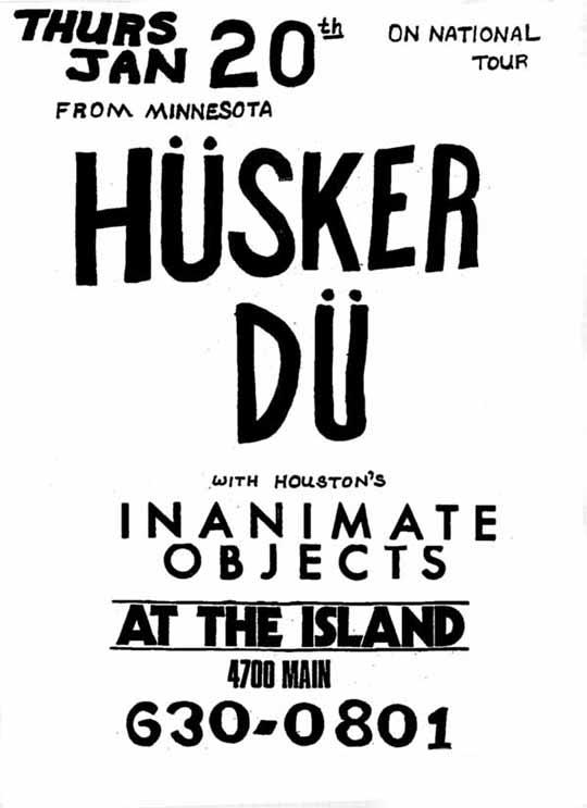 Husker Du-Inanimate Objects @ The Island Houston TX 1-20-83