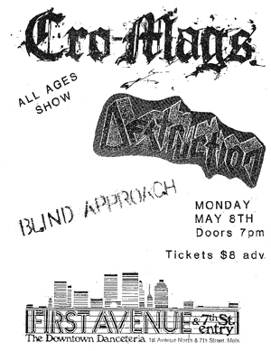 Cro Mags-Destruction-Blind Approach @ 7th St. Entry Minneapolis MN 5-8-89