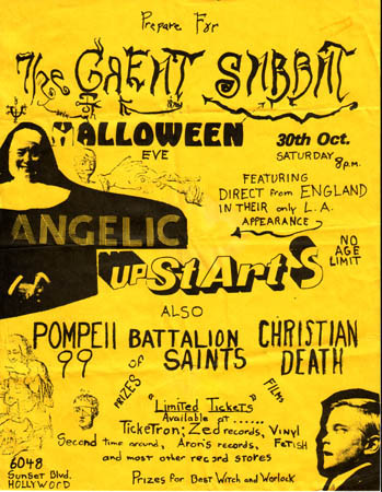 Angelic Upstarts-Pompeii 99-Battalion of Saints-Christian Death @ Los Angeles CA 10-30-82