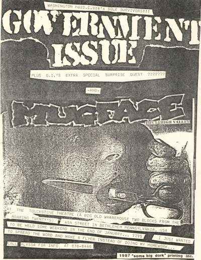 Government Issue-Mugface @ Touchstone Theatre Bethlehem PA 1987