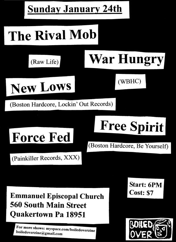 The Rival Mob-War Hungry-New Lows-Force Fed-Free Spirit @ Emmanuel Episcopal Church Quakertown PA 1-24-10