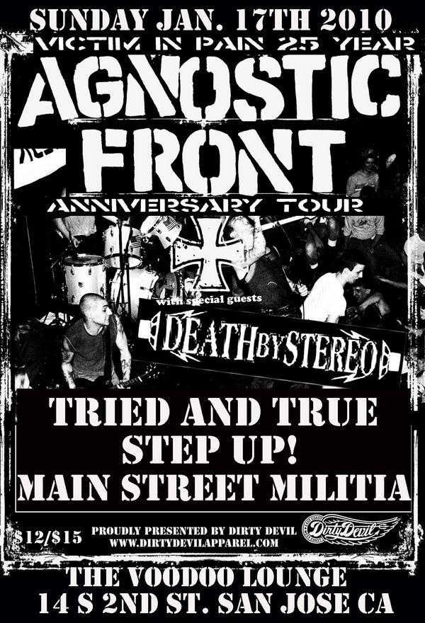 Agnostic Front-Death By Stereo-Tried & True-Step Up-Main Street Militia @ The Voodoo Lounge San Jose CA 1-17-10