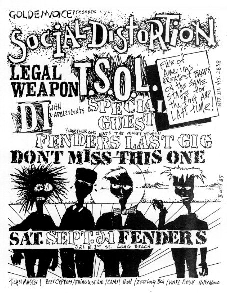 Social Distortion-TSOL-Legal Weapon-DI @ Fenders Long Beach CA 9-21-85