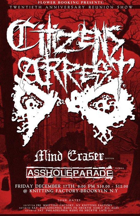 Citizens Arrest-Mind Eraser-Asshole Parade @ Club Europa Brooklyn NY 12-17-10