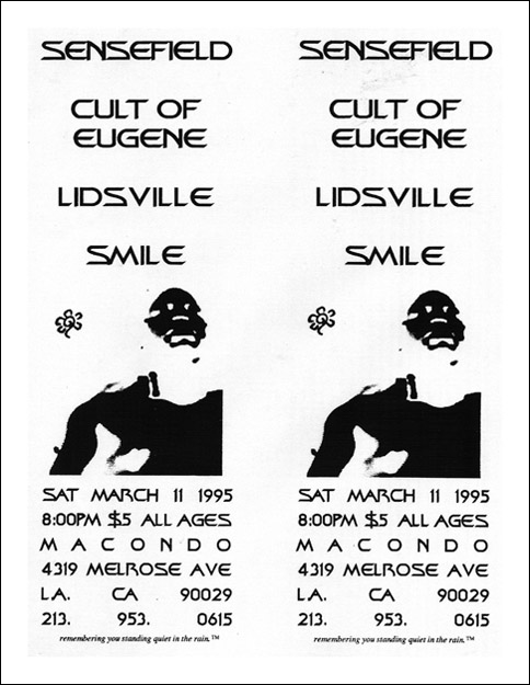 Sensefield-Cult of Eugene-Lidsville-Smile @ Macando Los Angeles CA 3-11-95