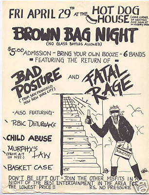 Bad Posture-Fatal Rage-Public Disturbance-Child Abuse-Murphy's Law-Basket Case @ Hot Dog House Asbury Park NJ 4-29-83