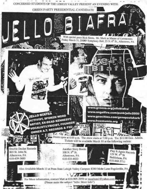 Jello Biafra, Green Party Candidate 2000