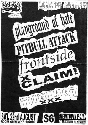 Playground of Hate-Pitbull Attack-Frontside-XClaim!-The Pact @ Newtown PCYC Newtown Australia 8-22-98