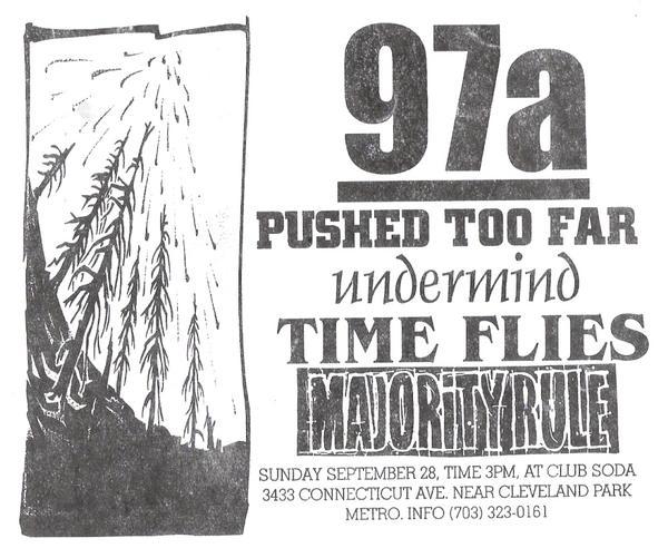 97a-Pushed Too Far-Undermind-Time Flies-Majority Rule @ Club Soda Washington DC 9-28-97