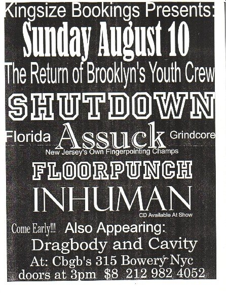 Shutdown-Assuck-Floorpunch-Inhuman-Dragbody-Cavity @ CBGB New York City NY 8-10-97