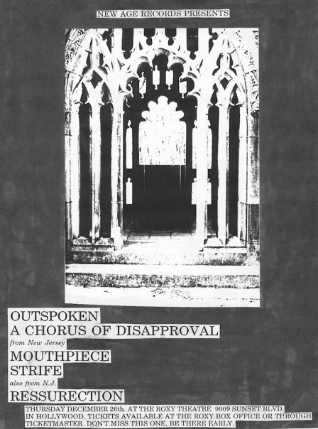 Outspoken-A Chorus Of Disapproval-Mouthpiece-Strife-Ressurection @ The Roxy Theater Hollywood CA 12-26-91
