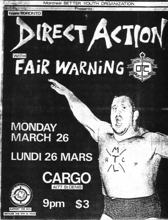Direct Action-Fair Warning @ Cargo Montreal Canada 3-26-84