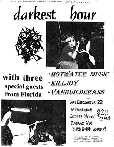 Darkest Hour-Hot Water Music-Killjoy-Vanbuilderass @ Dharma Coffee House Fairfax VA 12-22-95