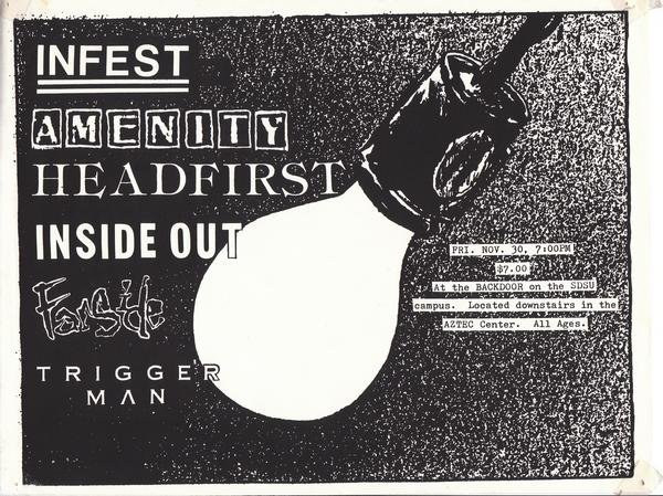 Infest-Amenity-Headfirst-Inside Out-Farside-Triggerman @ Backdoor San Diego CA 11-30-89