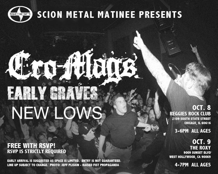 Cro Mags-Early Graves-The New Lows @ Reggie's Rock Club Chicago IL 10-8-11