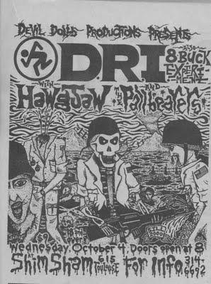 DRI-Hawgjaw-The Pallbearers @ Shim Sham New Orleans LA 10-4-86