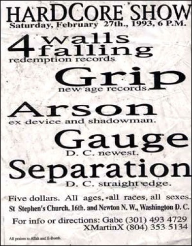Four Walls Falling-Grip-Arson-Gauge-Separation @ St. Stephen's Church Washington DC 2-27-93