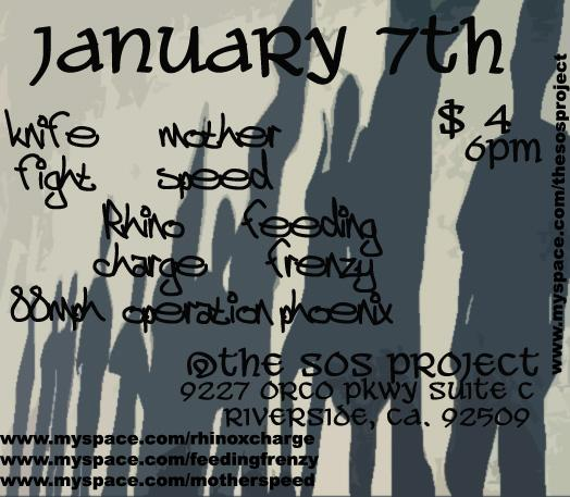 Knife Fight-Mother Speed-Rhino Charge-Feeding Frenzy @ SOS Project Riverside CA 1-7-11