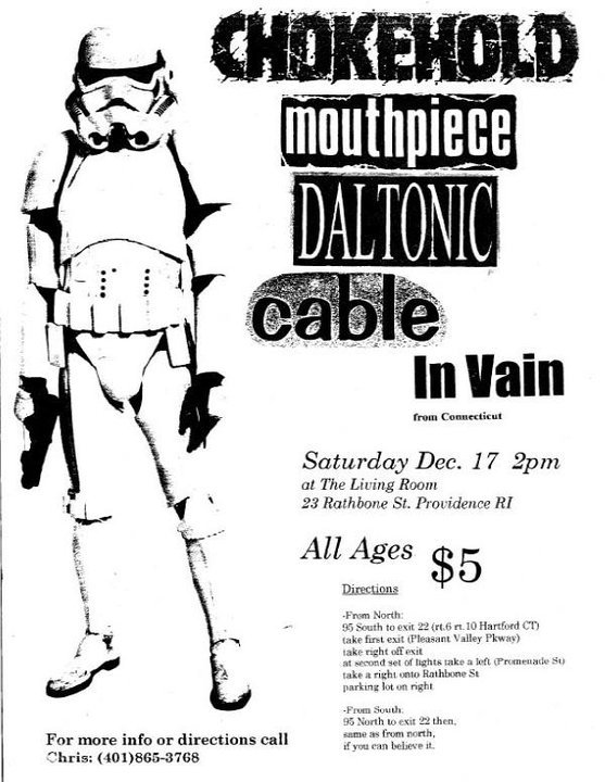 Chokehold-Mouthpiece-Daltonic-Cable-In Vain @ The Living Room Providence RI 12-17-94