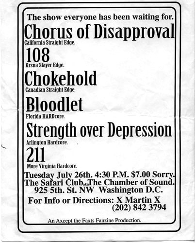 A Chorus Of Disapproval-108-Chokehold-Bloodlet-Strength Over Depression-211 @ The Safari Club Washington DC 7-26-94
