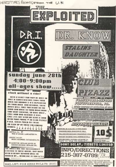 The Exploited-Dr. Know-DRI-Stalin's Daughter @ Club Pizazz Philadelphia PA 6-28-87