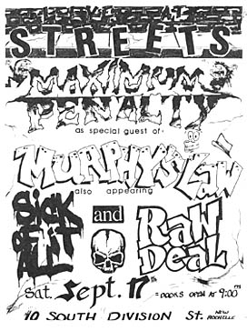 Maximum Penalty-Murphy's Law-Sick Of It All-Raw Deal @ Streets New Rochelle NY 9-17-88